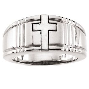 14K White 3.5 mm Cross Band Size 10