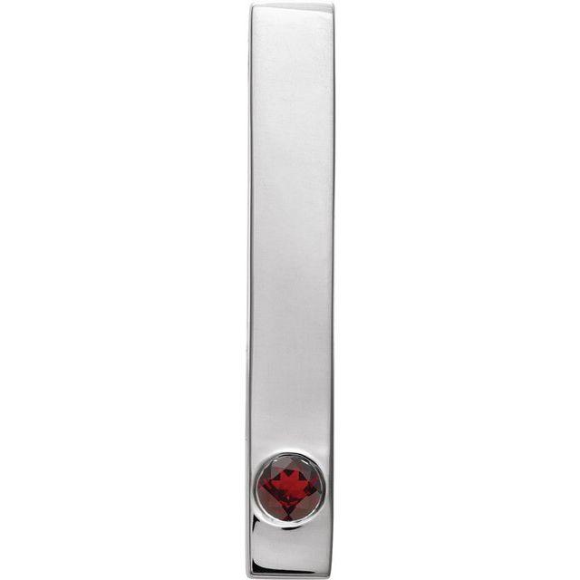 Sterling Silver Mozambique Garnet Family Engravable Bar Slide Pendant