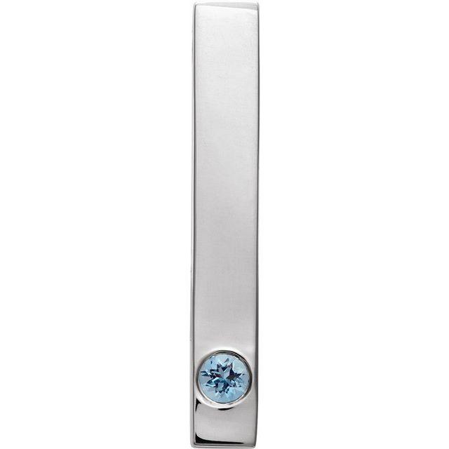 Sterling Silver Aquamarine Family Engravable Bar Slide Pendant