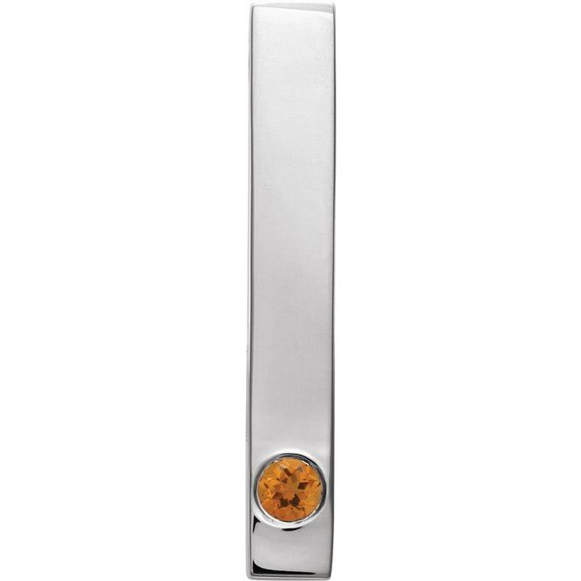 14K White Citrine Family Engravable Bar Slide Pendant