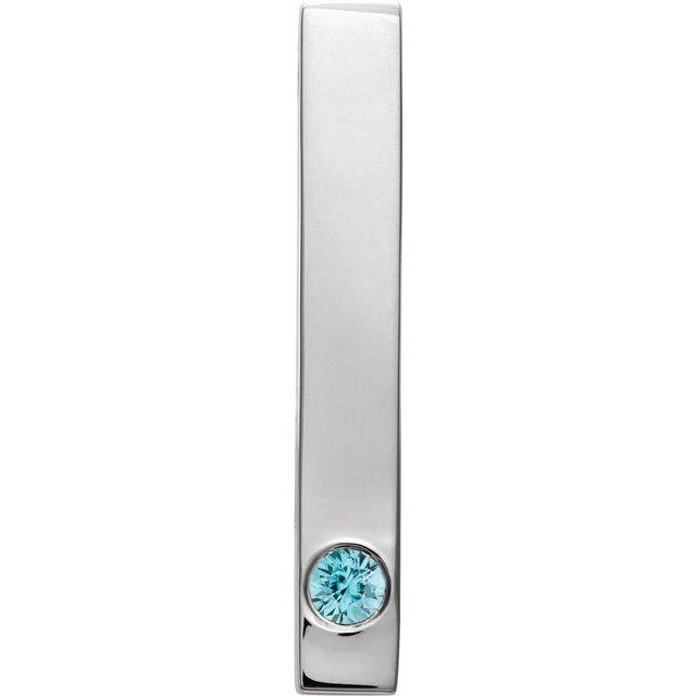 14K White Blue Zircon Family Engravable Bar Slide Pendant