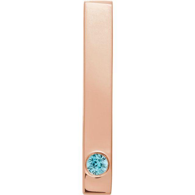 14K Rose Blue Zircon Family Engravable Bar Slide Pendant