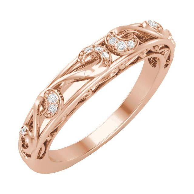 14K Rose .04 CTW Diamond Matching Band for 6.5 mm Round Ring