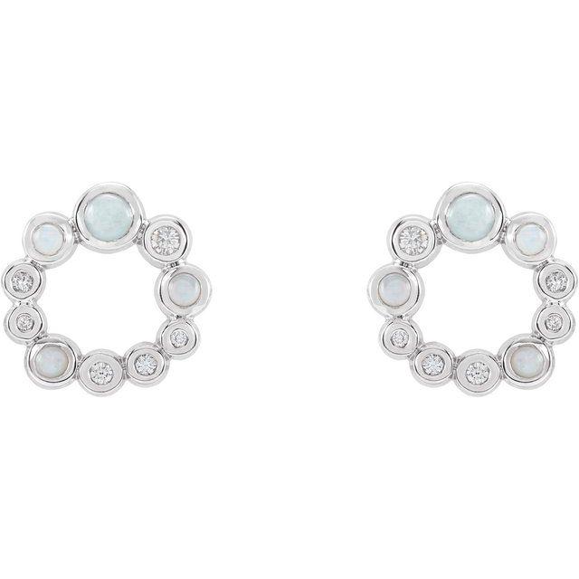 14K White Ethiopian Opal & 1/8 CTW Diamond Earrings