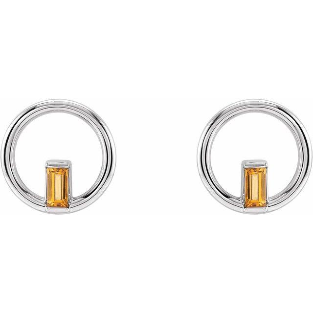14K White Citrine Baguette Circle Earrings