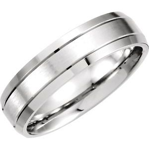 Sterling Silver 6 mm Grooved Beveled Edge Band Size 6