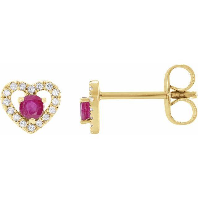 14K Yellow Ruby & 1/10 CTW Diamond Heart Earrings
