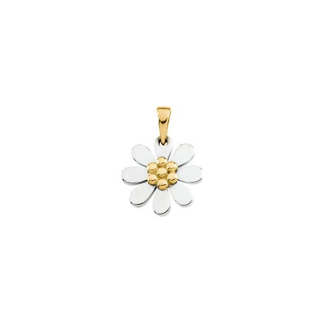 10K White & Yellow Floral-Inspired Pendant