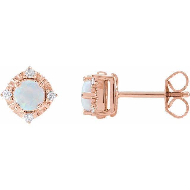 14K Rose Lab-Grown White Opal & .08 CTW Diamond Halo-Style Earrings