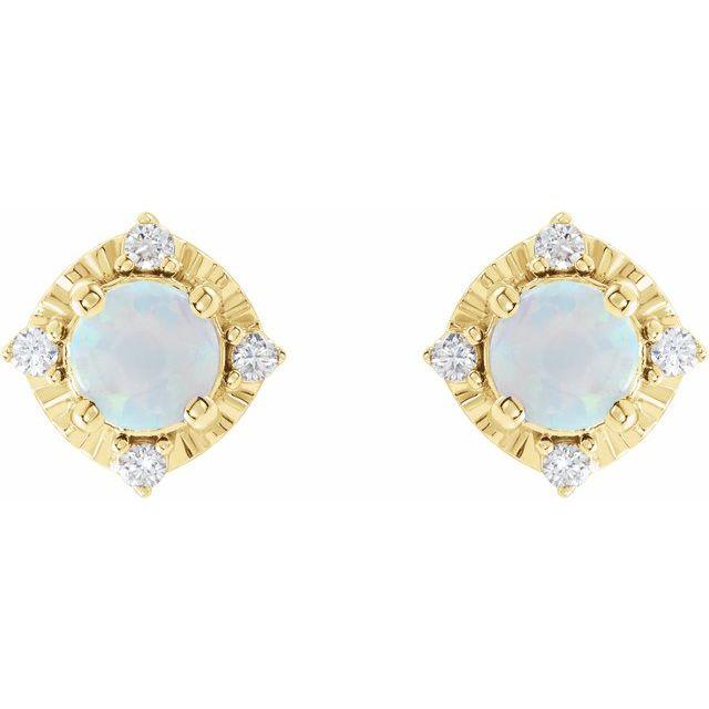 14K Yellow Lab-Grown White Opal & .08 CTW Diamond Halo-Style Earrings