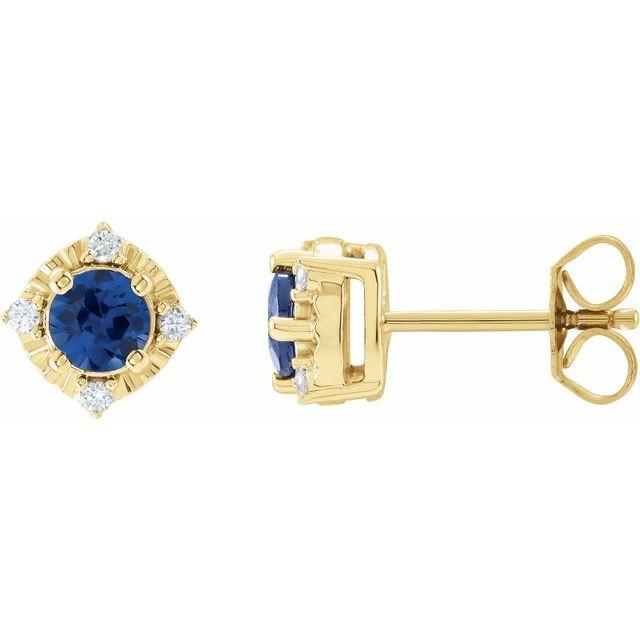 14K Yellow Lab-Grown Blue Sapphire & .08 CTW Diamond Halo-Style Earrings