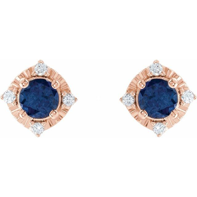 14K Rose Lab-Grown Blue Sapphire & .08 CTW Diamond Halo-Style Earrings