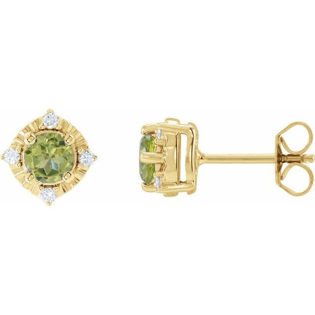 14K Yellow Peridot & .08 CTW Diamond Halo-Style Earrings