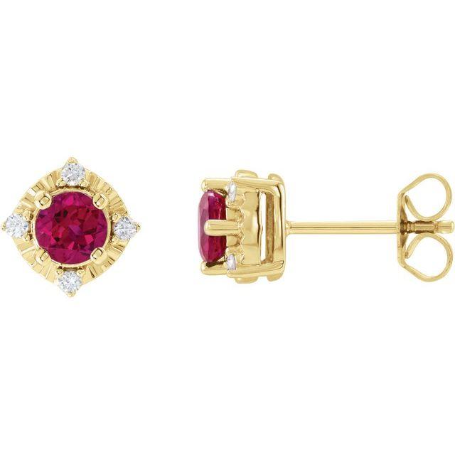 14K Yellow Lab-Grown Ruby & .08 CTW Diamond Halo-Style Earrings