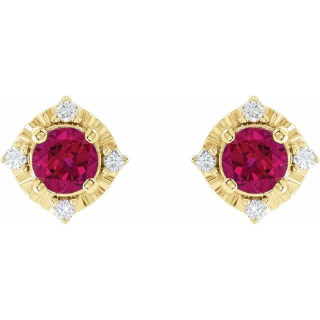 14K Yellow Lab-Created Ruby & .08 CTW Diamond Halo-Style Earrings