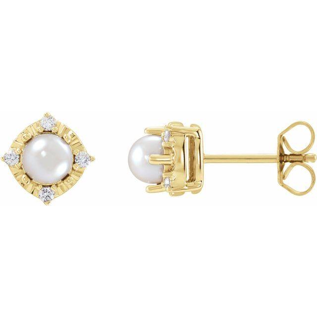 14K Yellow Cultured Freshwater Pearl & .08 CTW Diamond Halo-Style Earrings