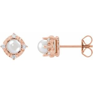 14K Rose Cultured Freshwater Pearl & .08 CTW Diamond Halo-Style Earrings