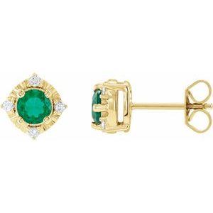 14K Yellow Lab-Grown Emerald & .08 CTW Diamond Halo-Style Earrings