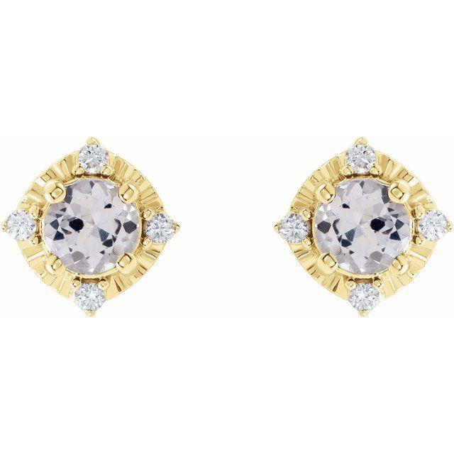 14K Yellow Lab-Grown White Sapphire & .08 CTW Diamond Halo-Style Earrings