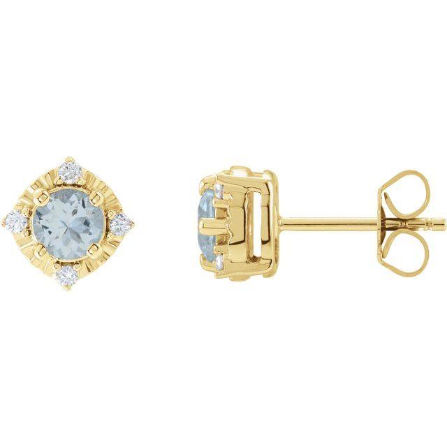 14K Yellow Aquamarine & .08 CTW Diamond Halo-Style Earrings