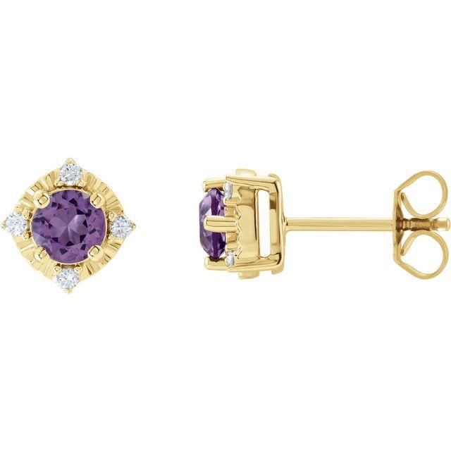 14K Yellow Amethyst & .08 CTW Diamond Halo-Style Earrings