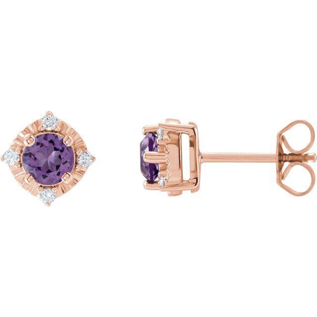 14K Rose Amethyst & .08 CTW Diamond Halo-Style Earrings