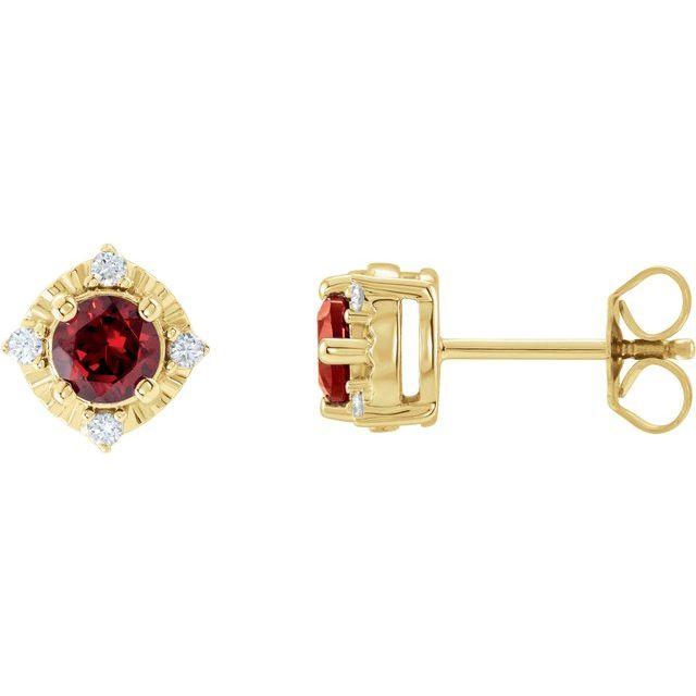 14K Yellow Mozambique Garnet & .08 CTW Diamond Halo-Style Earrings