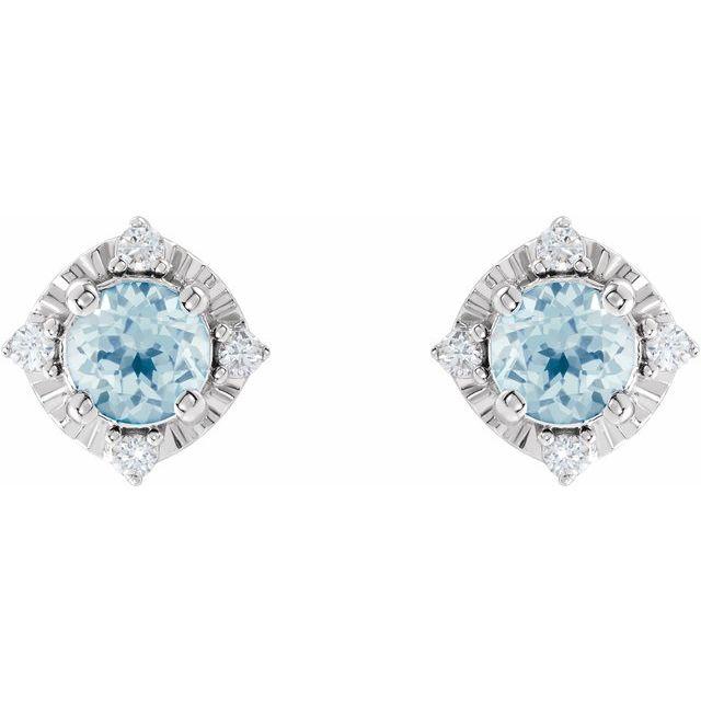 Sterling Silver Sky Blue Topaz & .08 CTW Diamond Halo-Style Earrings