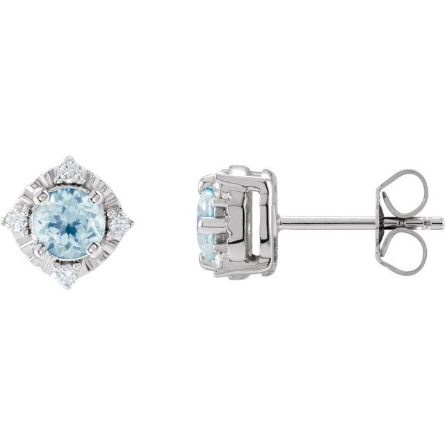 Sterling Silver Sky Blue Topaz & .08 CTW Diamond Halo-Style Earrings