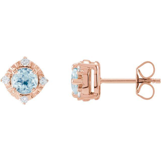 14K Rose Sky Blue Topaz & .08 CTW Diamond Halo-Style Earrings
