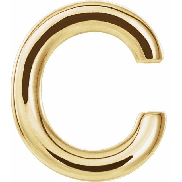 14K Yellow Single Initial C Earring