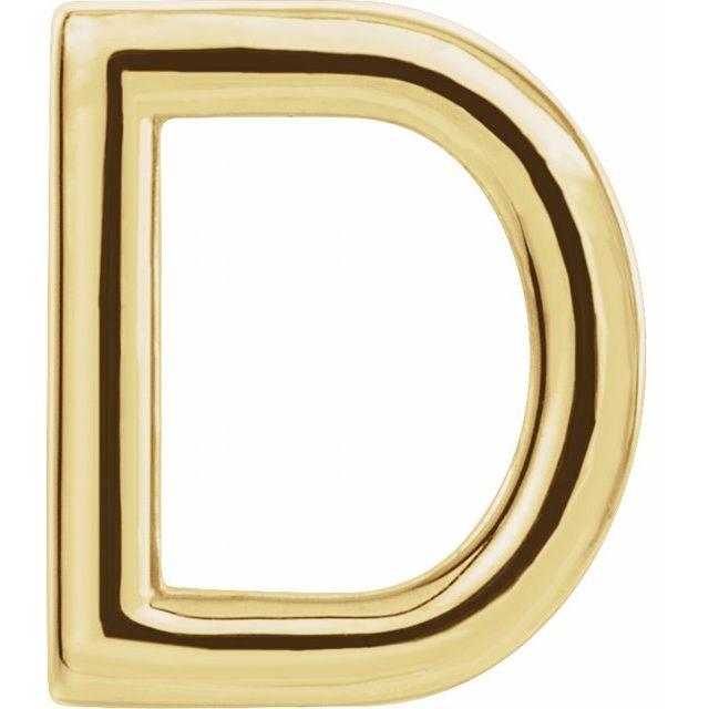 14K Yellow Single Initial D Earring
