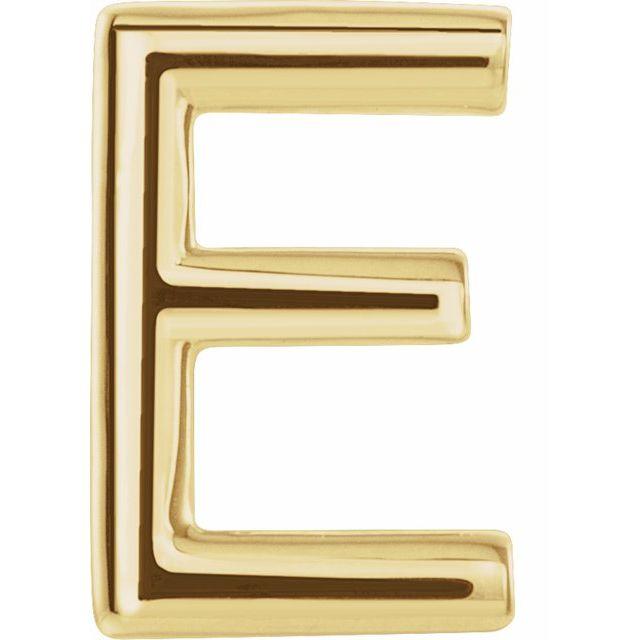 14K Yellow Single Initial E Earring