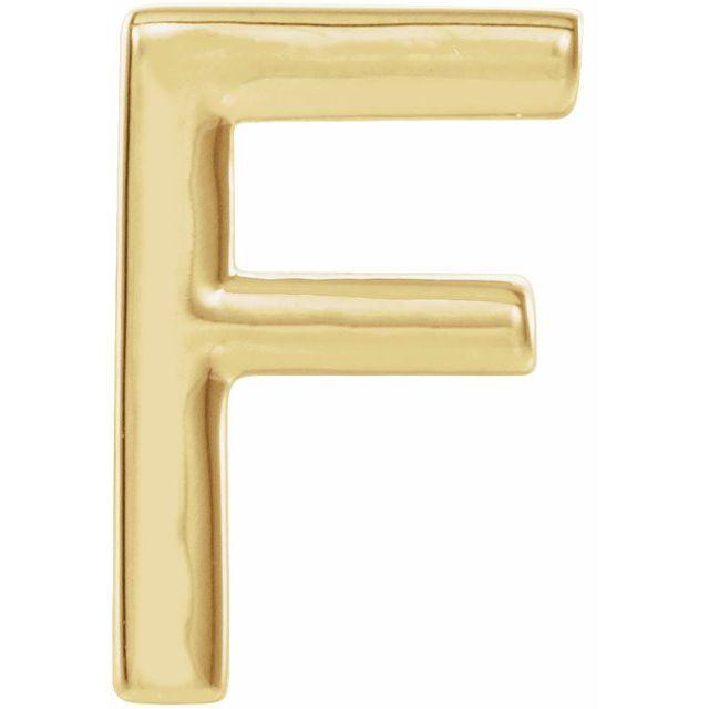 14K Yellow Single Initial F Earring