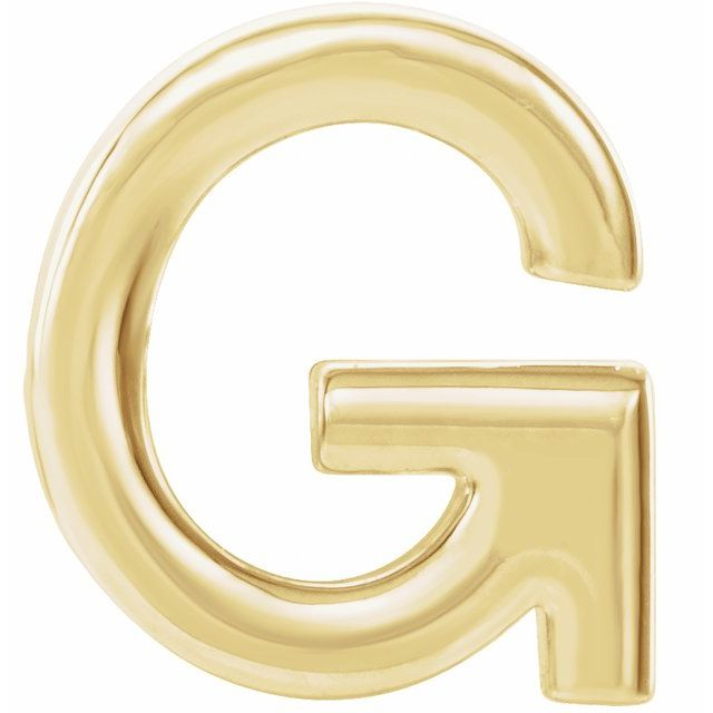 14K Yellow Single Initial G Earring