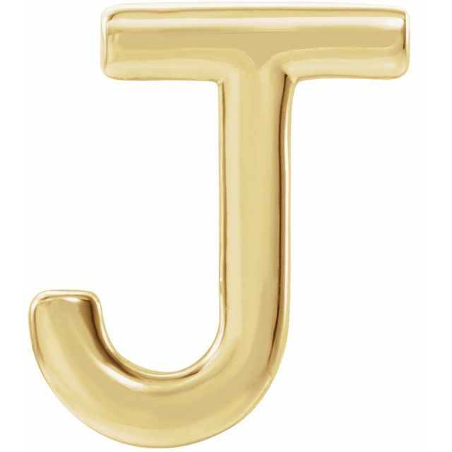 14K Yellow Single Initial J Earring