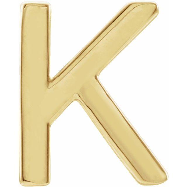 14K Yellow Single Initial K Earring