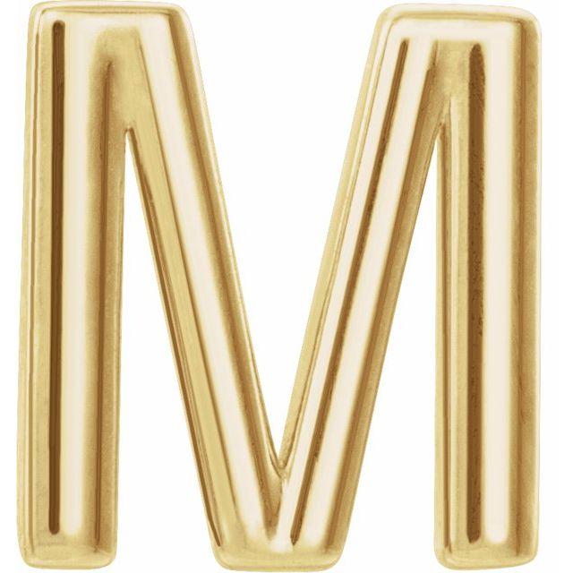 14K Yellow Single Initial M Earring