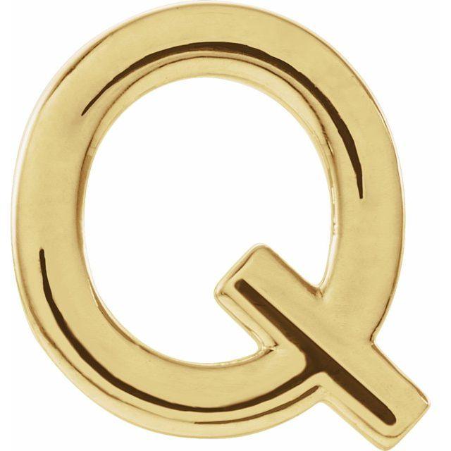 14K Yellow Single Initial Q Earring