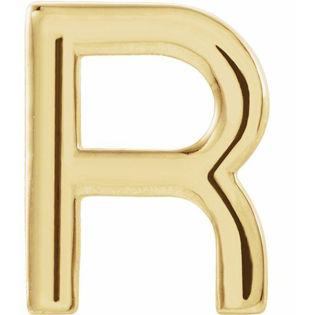 14K Yellow Single Initial R Earring