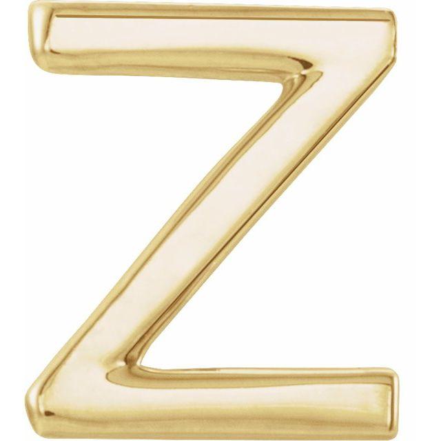 14K Yellow Single Initial Z Earring