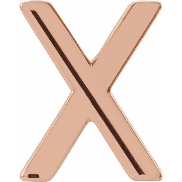 14K Rose Single Initial X Earring