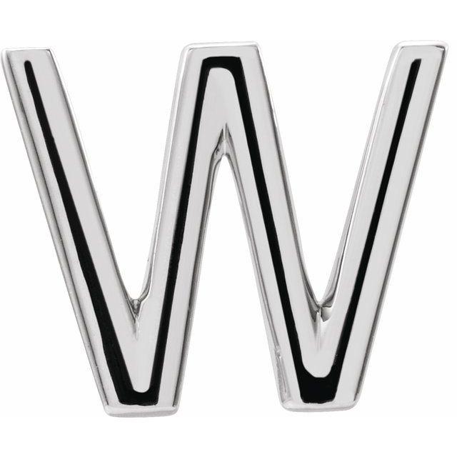 14K White Single Initial W Earring