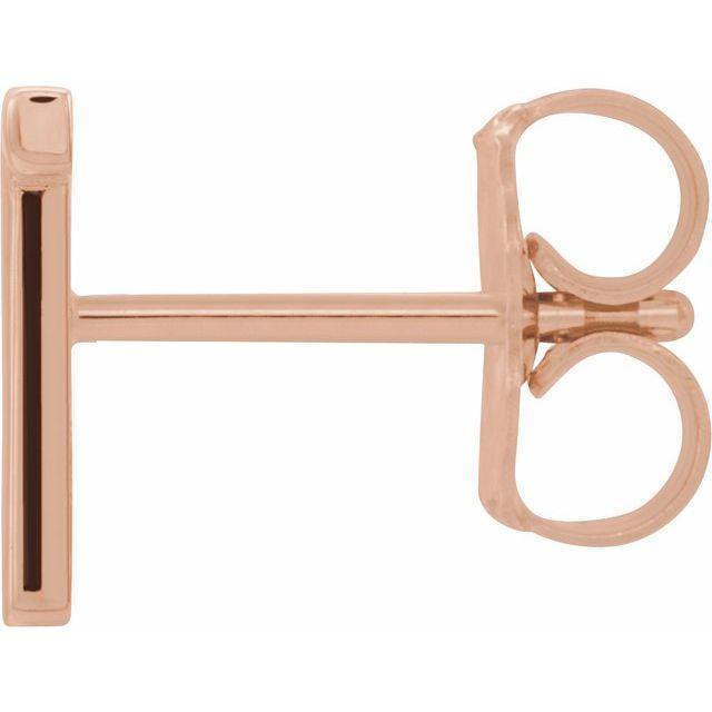 14K Rose Single Initial T Earring