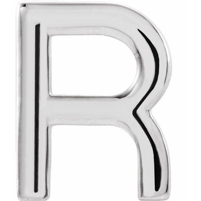 Sterling Silver Single Initial R Earring
