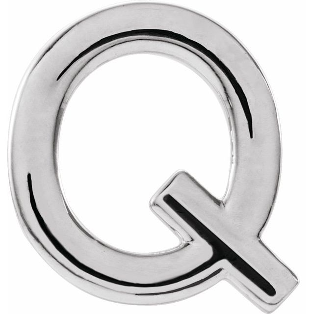 Sterling Silver Single Initial Q Earring