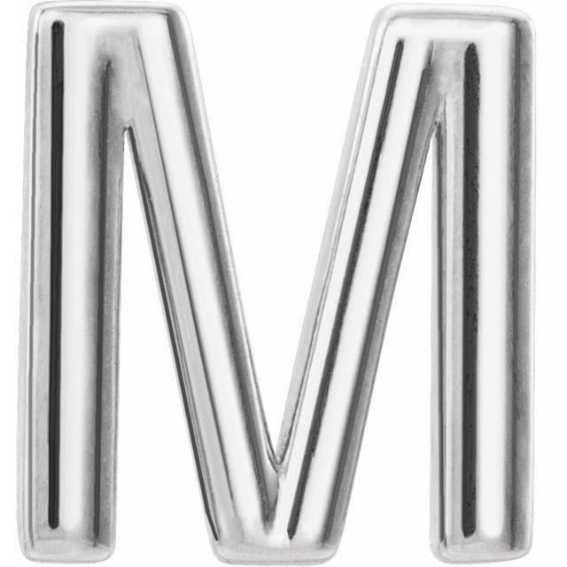 14K White Single Initial M Earring
