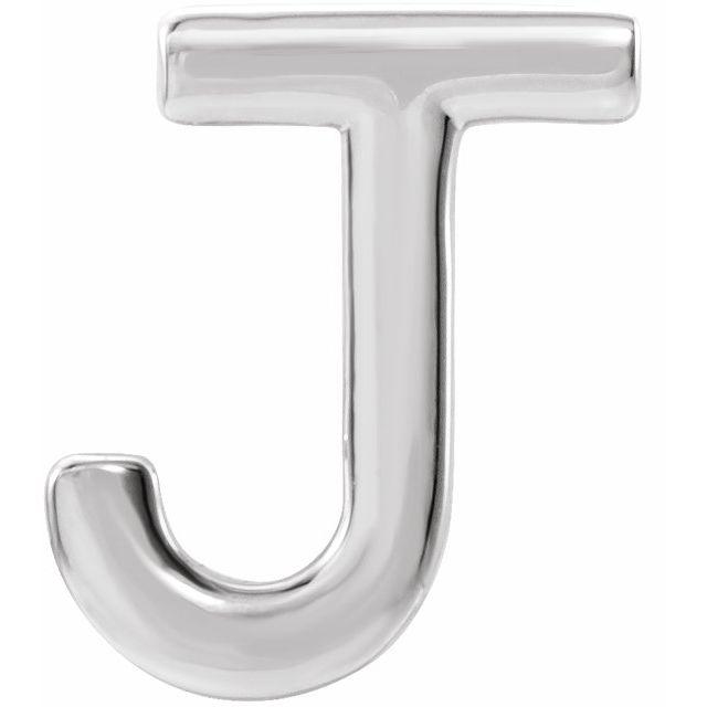 14K White Single Initial J Earring