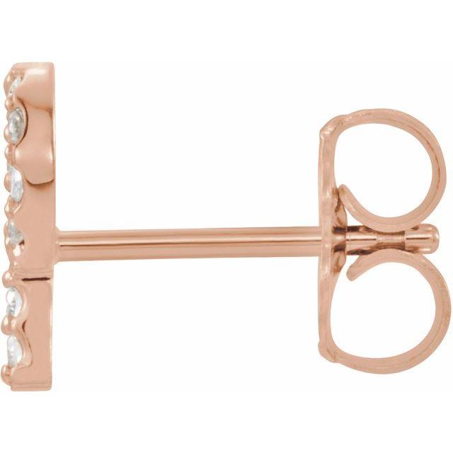 14K Rose .06 CTW Diamond Single Initial P Earring