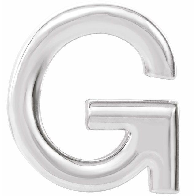 14K White Single Initial G Earring